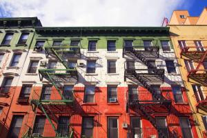 Builiding in Little Italy area of New York painted in the colour