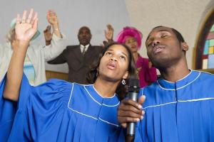 African American people singing in church