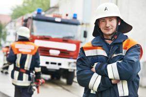 Fireman portrait at training