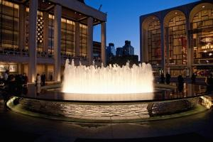 Lincoln Center at dusk and water fountains, New York, New York