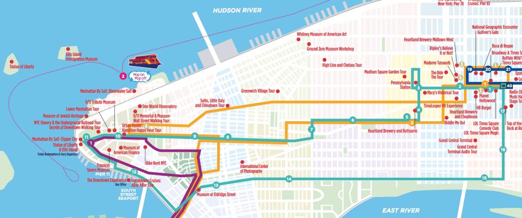 Mapa do ônibus turístico no roteiro de 6 dias em Nova York