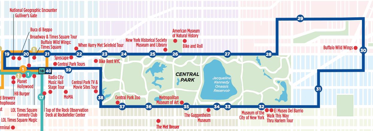 Mapa do ônibus no roteiro de 6 dias em Nova York
